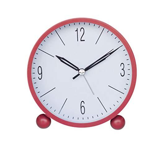 liushop Reloj De Escritorio Despertador Redondo Despertador Ultra silencioso a batería, retroiluminado, retroiluminado, Dormitorio, Sala de Estar Escritorio Despertador De Escritorio (Color : Red)