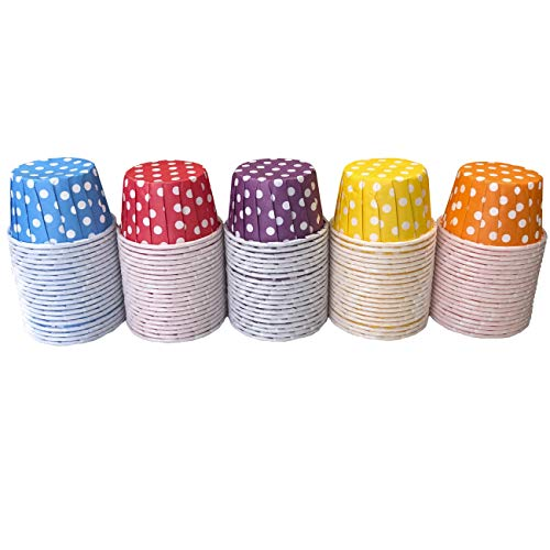 Rainbow Colors MINI Candy Nut Paper Cups - MINI Baking Liners - Red Orange Yellow Green Blue Purple - Polka Dot - 100 Pack