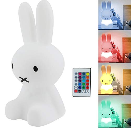Small Night Light Brown Bear Warm Light Mifi Rabbit Bed Head Night Light  28Cm Miffy Rabbit Colorful Charging Remote Control