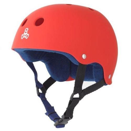 Triple Eight Sweatsaver Liner Skateboarding Helmet, Red Rubber, Small