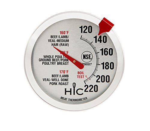HIC Harold Import Co 29007 Meat Poultry Ham Turkey Grill Thermometer Oven Safe Large 2Inch EasyRead Face Stainless Steel Stem and Housing