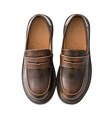Women's Casual Genuine Leather Penny Loafers Driving Moccasins Slip-On Boat Flats Shoes (US 7.5, Brown)
