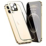Front Back Tempered Glass Metal Magnetic Case Compatible with iPhone 12 Pro,Luxury Glass Full Cover Magnetic Bumper Metal Case with Camera Lens Case Compatible with iPhone 12 Pro (Gold)