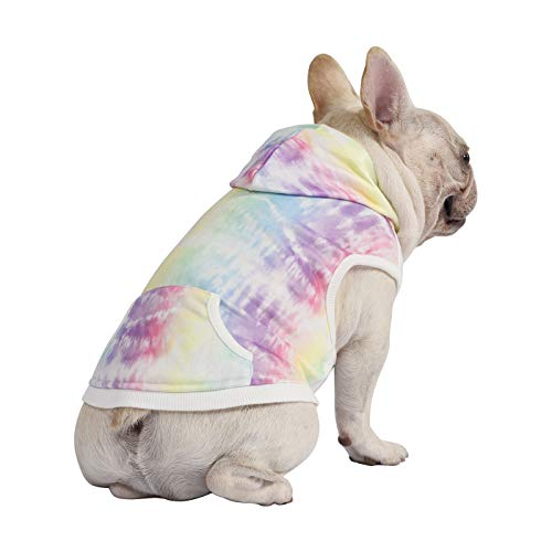 HDE Dog Hoodie Fleece Dog Sweater Hooded Sweatshirt for Large Medium Small Dogs (Rainbow Tie Dye, Medium)