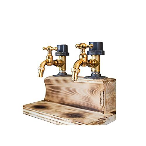 Blingbin FatherS Day - Dispensador de whisky de madera, grifo de vino, dispensador de whisky, 3 cabezales, soporte para chupitos, dispensador de bebidas, decoración para el hogar