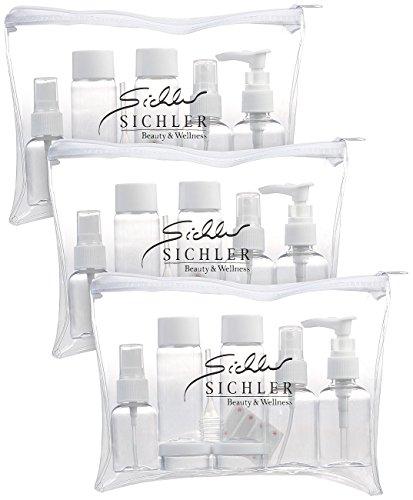 Sichler Beauty Reiseset Handgepäck: 3er-Set Reise-Reißverschlusstaschen, 21 Behälter für Flug-Handgepäck (Reise Duschgel Behälter)
