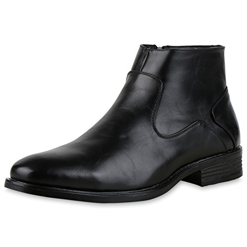 SCARPE VITA Klassische Herren Boots Elegante Leder-Optik Business Stiefeletten 165353 Schwarz 40