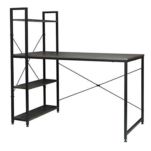 WOLTU TSB01srs Schreibtisch Computertisch Büromöbel PC Tisch Bürotisch Arbeitstisch aus Holz und Stahl, mit Ablage, ca. 120x64x120 cm, Schwarz+Rostfarbe