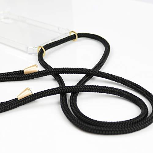 ZhinkArts Handykette kompatibel mit Huawei P20 Pro - Smartphone Necklace Hülle mit Band - Schnur mit Case zum umhängen in Schwarz - Gold - 5