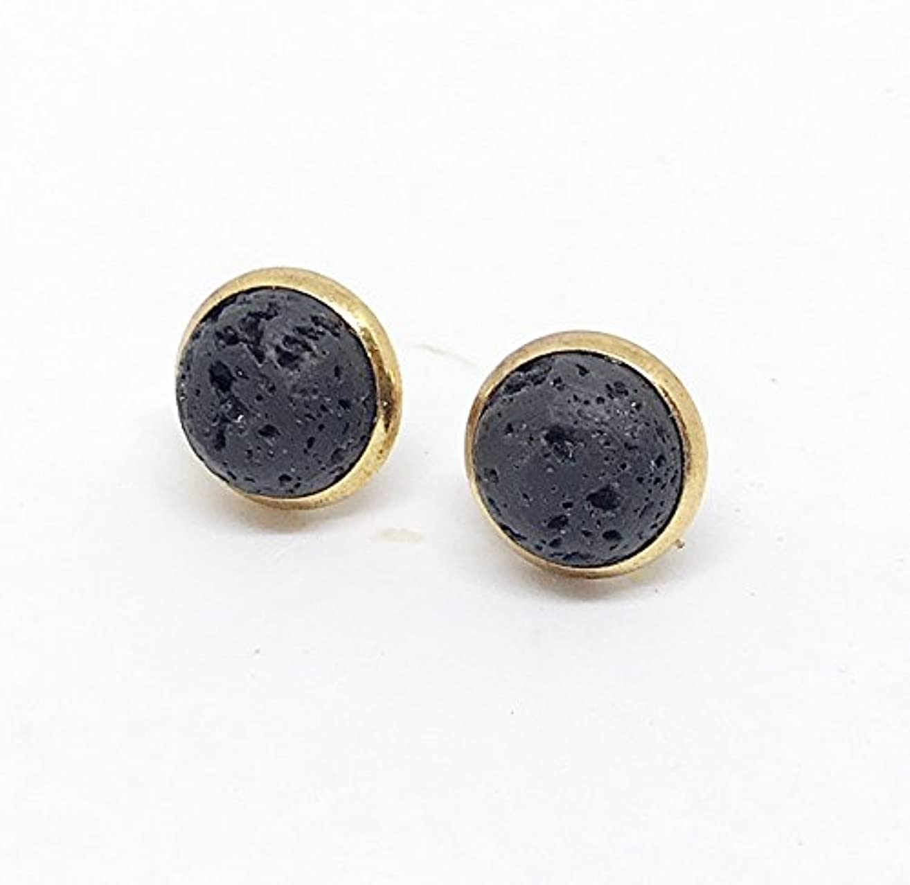 Gold Lava Rock Diffuser Earrings, Diffuser Jewelry, Lava Rock Earrings, Lava Jewelry, Gifts for Her, Aromatherapy Jewelry, Essential Oil Accessories, Post Earrings, Stud Earrings,