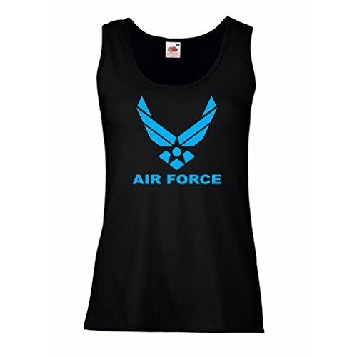 lepni.me Damen Tank-Top United States Air Force (USAF) - U. S. Army, USA Armed Forces (Medium Schwarz Blau)