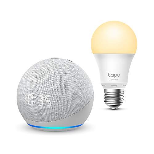 Echo Dot (4.ª generación) con reloj, Blanco + TP-Link Tapo Bombilla Inteligente (E27), compatible con Alexa