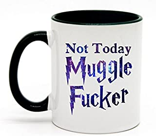Funny Coffee Lover Gift - Not Today Muggle Fucker Coffee Mug Tea Cup 11 Ounce (White+Hunter Green)