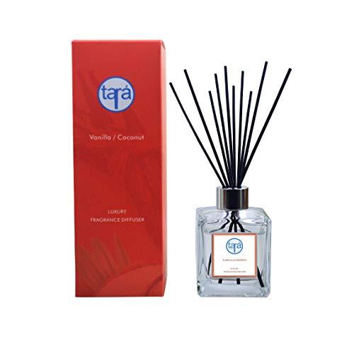 Tara 120ml Vanilla Coconut Essential Oil Reed Diffuser, 10 Fibre Reeds, Home Fragrance, Gift Idea
