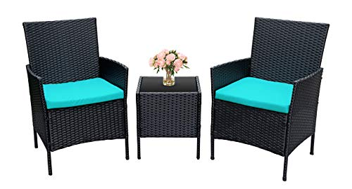 Viewee 3 Pieces Patio Furniture Sets-Patio Furniture Sets 3 Pieces Porch Furniture PE Rattan Patio Set Outdoor Table and Chairs with 2 Pieces Blue Patio Furniture Cushions