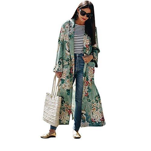 Cardigan Mujer Talla Grande Chiffon Abrigos Primavera Otoño Elegante Túnica Moda Festivo Casual Hermoso Manga Larga Fiesta Kimono Placket Floreadas con Bolsillos Abiertas Chaqueta Outerwear