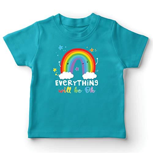 lepni.me Camiseta para Niño/Niña Todo Estará Bien Andrà Tutto Bene Arcoiris de la Esperanza (7-8 Years Azul Claro Multicolor)