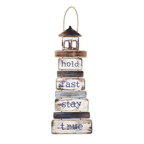 Meching Large Hanging Wall Sign Rustic Farmhouse Decor for The Home Sign Rustic Wooden Wall Art Signs Wooden Hanging Wall Sign Beach Decor for Bedroom Living Room Office Decor,7.5x25 Inch(Lighthouse)