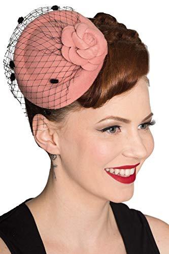 Dancing Days Vintage Retro 40er 50er Jahre Fascinator Marilyn Hochzeit Hut - Rosa