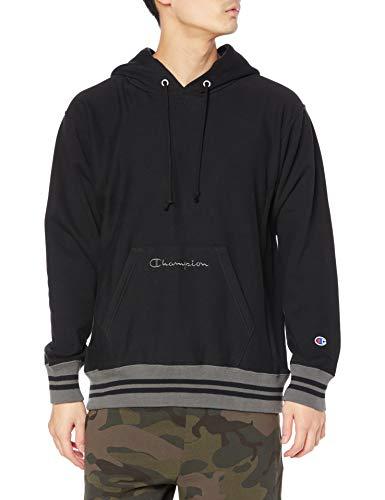 [チャンピオン] パーカー トレーナー 裏毛 長袖 綿100% 10oz ラインリブ スクリプトロゴ刺繍リバースウィーブ フーデッドスウェットシャツ C3-T112 メンズ ミッドナイトブラック L