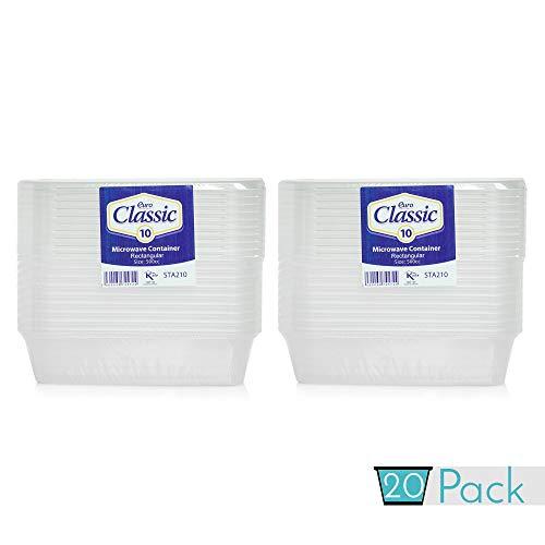 Lot de 20 récipients alimentaires en plastique avec couvercles 500 ml | Récipients repas à emporter avec couvercles ~ Passe au micro-ondes, congélateur et lave-vaisselle ~ Durable ~ Transparent