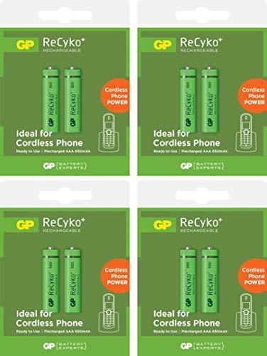 GP Akkus Phone Power wiederaufladbar, 8 Stück Micro AAA 1,2V 650mAh, ready2use - bereits vorgeladen, ReCyko+ LSD Technologie - sehr geringe Selbstentladung, perfekt für schnurlose DECT Handye etc.