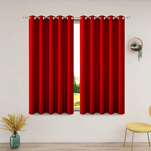 FLOWEROOM Gardinen Blickdichte Verdunklungsvorhänge für Schlafzimmer und Wohnzimmer, 168 x 137 cm (HxB), Rot – Thermogardinen/Lichtdicht Vorhang mit Ösen, Geräuschreduzierung vorhänge, 2 Set