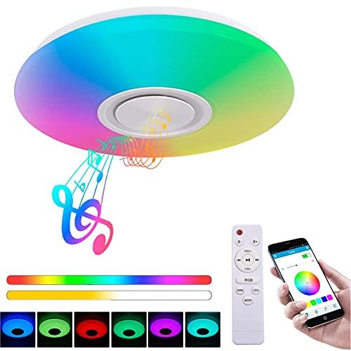 36W Lámpara de Techo con Altavoz Bluetooth Ø40cm 3000-6500K Iluminación RGB Regulable...