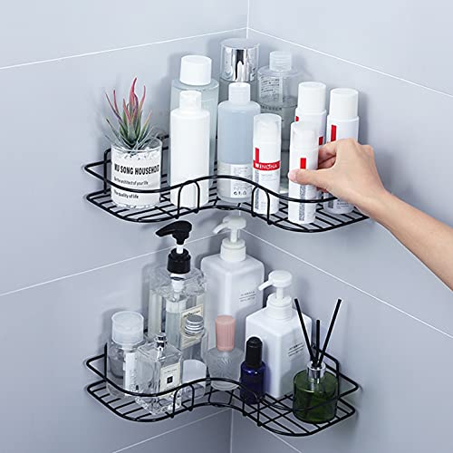 Corner Shower Caddy Bathroom Shelf, Rust Proof Bathtub Accessories Organizer, 2PC Shower Caddy Basket Shelf with Hooks, No Drilling Wall Mounted Bath Shelves Organizer for Shower and Kitchen (Black)