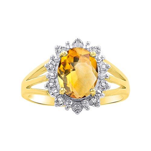 Juego de anillos de oro amarillo de 14 quilates con diseño de diamante y citrino – inspirado en la princesa Diana Halo Desginer