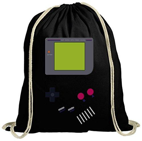 ShirtStreet Videospiel Videogame Gamer Game Computerspiel natur Turnbeutel Gym Bag Retro Spielkonsole, Größe: onesize,schwarz natur