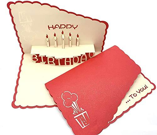 Carte d'anniversaire 3D faite à la main - Carte d'anniversaire pop-up 3D - Convient pour les femmes et les hommes - Avec bougie - Carte d'anniversaire spéciale (14 x 20 cm)