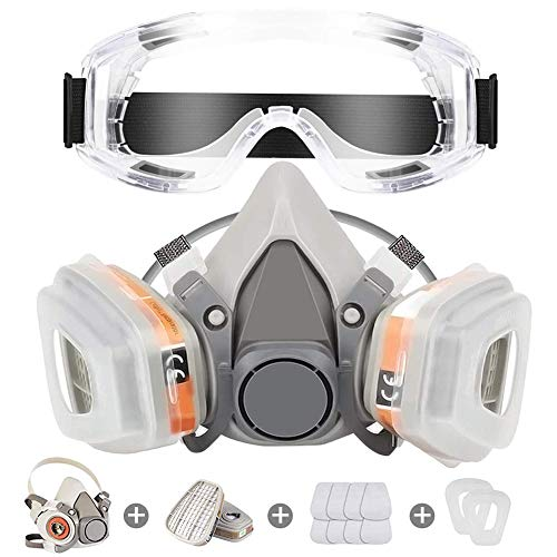 Respirator Mask Reusable Half Face Cover Gas Mask with Safety Glasses, Paint Face Cover Face Shield with Filters for Painting, chemical, Organic Vapor, Welding, Polishing, Woodworking and Other Work Protection