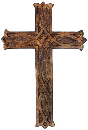 Wooden Jesus Wall Cross - Wooden Wall Hanging Jesus Cross | Mango Wood Wall Cross for Home | Religious Home Décor | 12 Inches