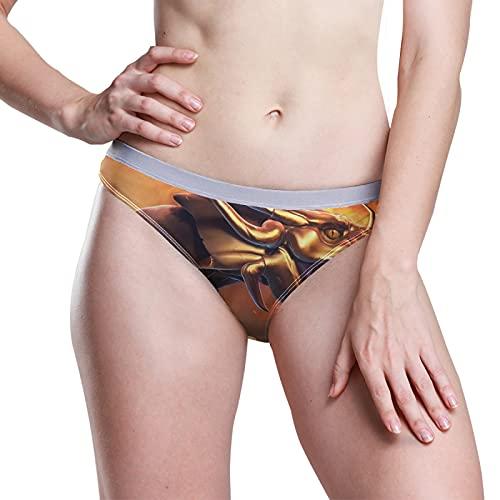 PUXUQU Damen Boxer Slips Höschen Epos Golden Drachen Low Rise Unterwäsche Bikini Slips Basic Pants