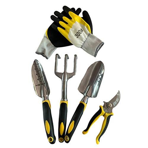 Fugift Garden Tool Set 5 Pack avec Truelle, Cultivateur Rake Main, Transplant Truelle, Ciseaux, Gants de Jardinage pour désherber, ameublissement du Sol