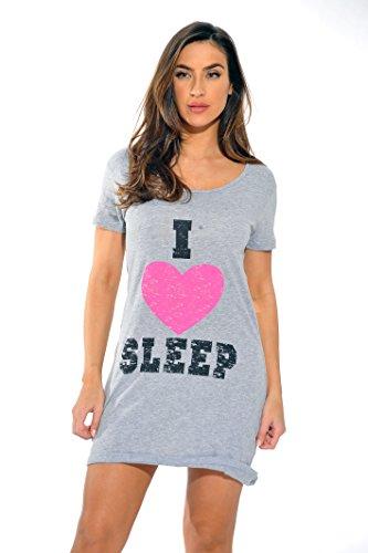 Just Love Sleep Dress for Women / Sleeping / Dorm Shirt / Nightshirt,Grey - I Heart Sleep,Medium