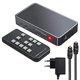 eSynic 3 Porte HDMI Switch con Audio Estrattore Pip Supporta 4K 3D HDMI Switcher HDMI a HDMI Ottico TOSLINK SPDIF e 3.5mm Audio con IR Telecomando Alimentatore EU Cavo Toslink 2M