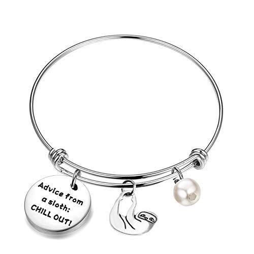 Sloth Gifts Advice from a Sloth Chill Out Sloth Charm Bracelet (Sloth Bracelet)