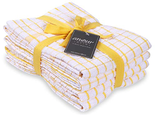 AMOUR INFINI Terry Kitchen Towels | Set of 4 | 20 x 28 Inches | Super Plush and Absorbent |100% Cotton Dish Towels with Hanging Loop | Perfect for Kitchen and Household Uses | Yellow