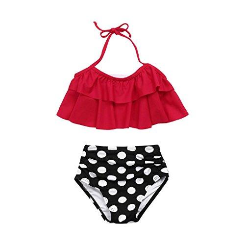 ? Amlaiworld Sommer Retro Blätter Druck Bikini Set Mädchen Baby Strand rüschen BH bademode Mode Kinder Band Schwimmen badeanzüge,1-8 Jahren (6 Jahren, Rot)
