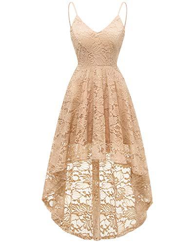 bridesmay Elegant Spitzenkleid verstellbare Spaghettiträger mit V-Ausschnitt Cocktailkleid Abendkleider Champagne M