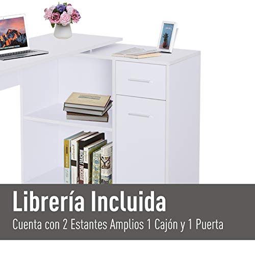 HOMCOM Mesa de Ordenador Escritorio Mesa Esquinera con Librería ...