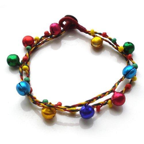 Idin - Pulsera tobillera hecha a mano con cordones de cera multicolores enhebrados con cascabeles y abalorios (25 cm)