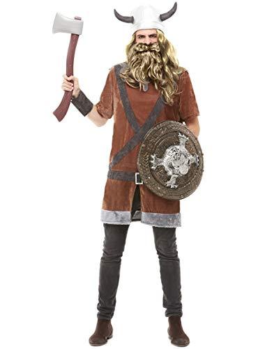 Funidelia | Disfraz de Vikingo para Hombre Talla L ▶ Nórdico, Valkiria, Bárbaro, Vikings - Color: Marrón - Divertidos Disfraces y complementos para Carnaval y Halloween