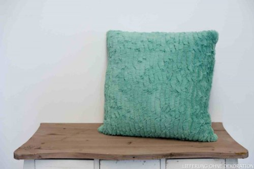 Onbekend indoor fleece kussen Izmir - lichtgroen hoofdkussen sofakussen decoratief kussen wollig 45cmx45cm incl. vulling