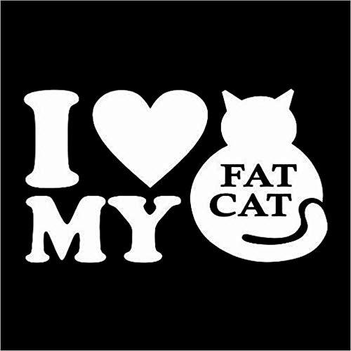 Auto Aufkleber Dekoration wasserdicht Sonnencreme Ich Liebe Meine Fat Cat Aufkleber Vinyl Aufkleber Motorrad Aufkleber Personalisierte 14 cm x 8 cm 5 stücke