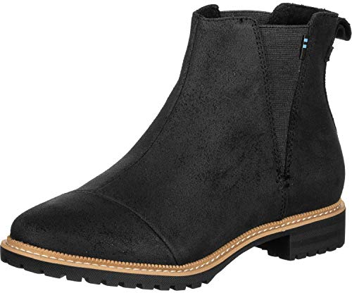 TOMS Women's Cleo Boot Black Leather 6 M