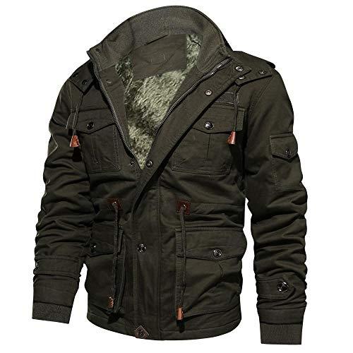 YEBIRAL Herren Winter Dick Fleece Gefüttert Militär Cargo Jacke Feldjacke Bomberjacke Übergangsjacke Baumwoll Hoodies mit Multi Taschen