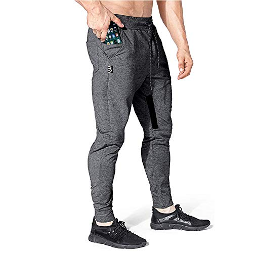 Yageshark Herren Jogginghose Sporthose Baumwolle Fitness Slim Fit Hose Freizeithose Trainingshose Joggers Streetwear (Grau, Medium)